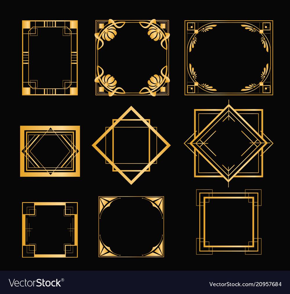 Set art deco frames in
