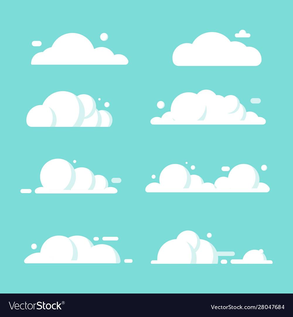 Set clouds flat cartoon blue sky nature