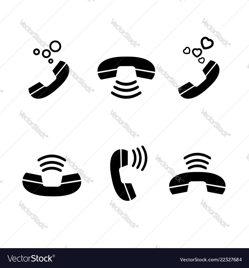 Set vintage black handset and sign signal