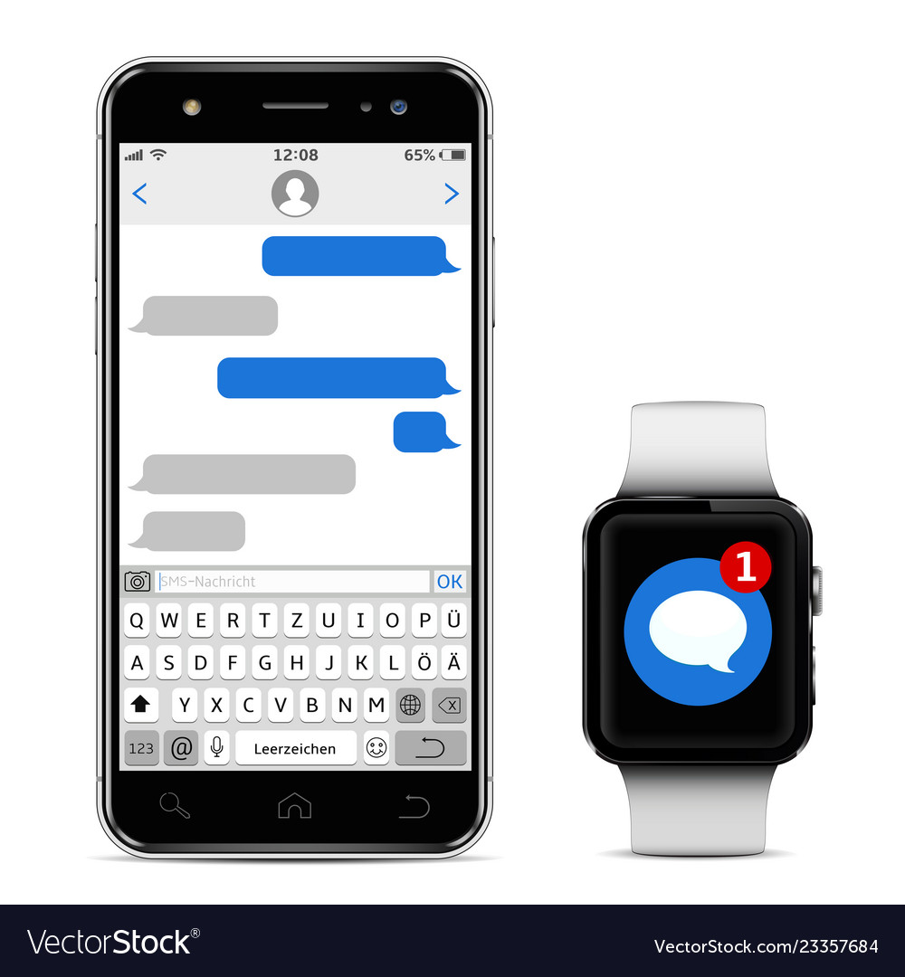 Smart watch and mobile phone with germany alphabet