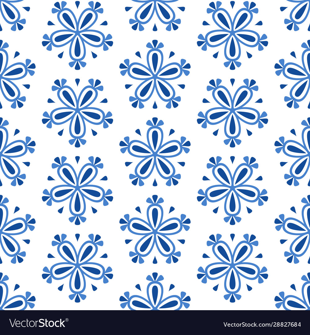 Tile Blue And White Seamless Floral Wallpaper Vector Image