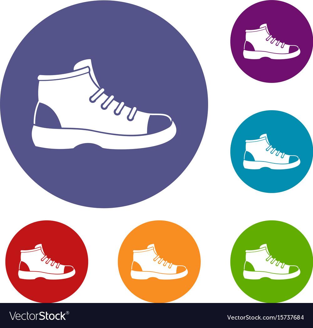 Tourist shoe icons set