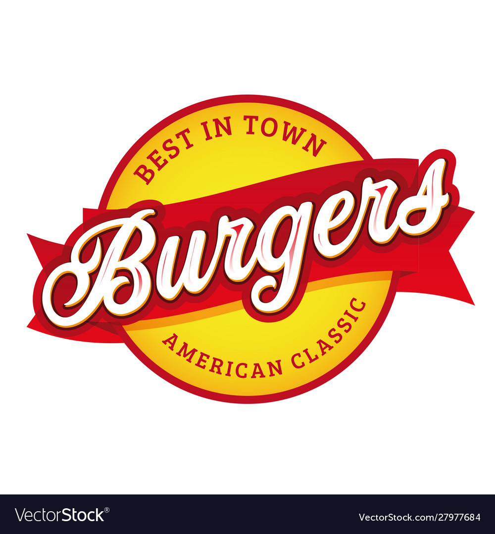 Vintage burgers sign lettering stamp vector