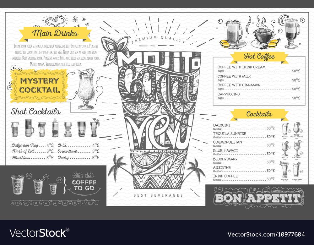 vintage cocktail menu design restaurant menu vector image