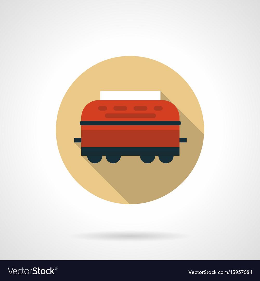Wagon-refrigerator beige round icon