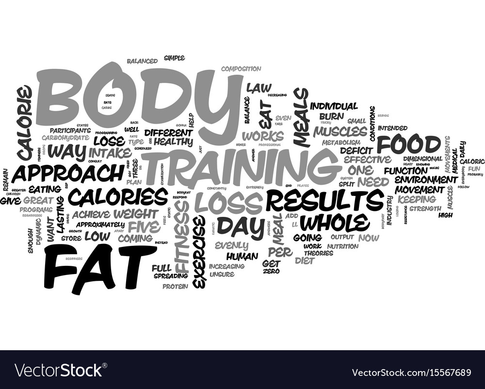A whole body approach to fat loss text word cloud vector image