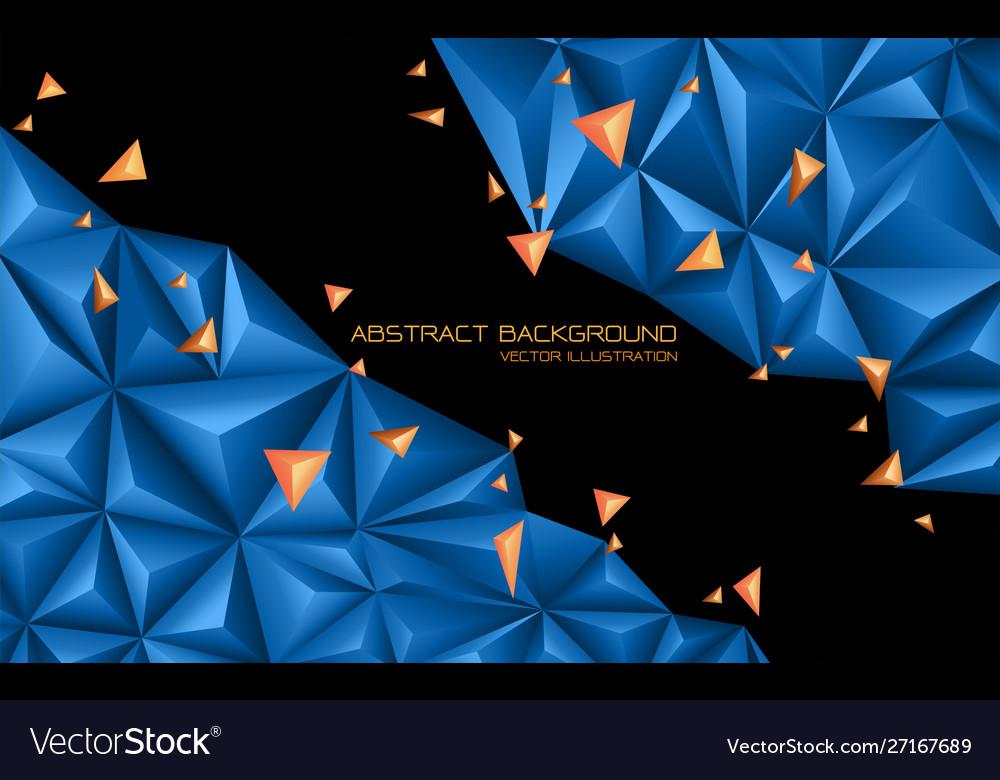 Abstract blue orange triangle 3d on black design