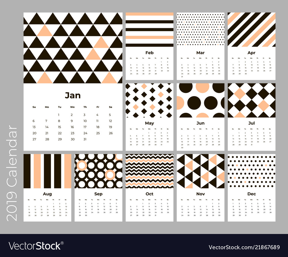 calendar 2019 year a4 cards with pattern vector image