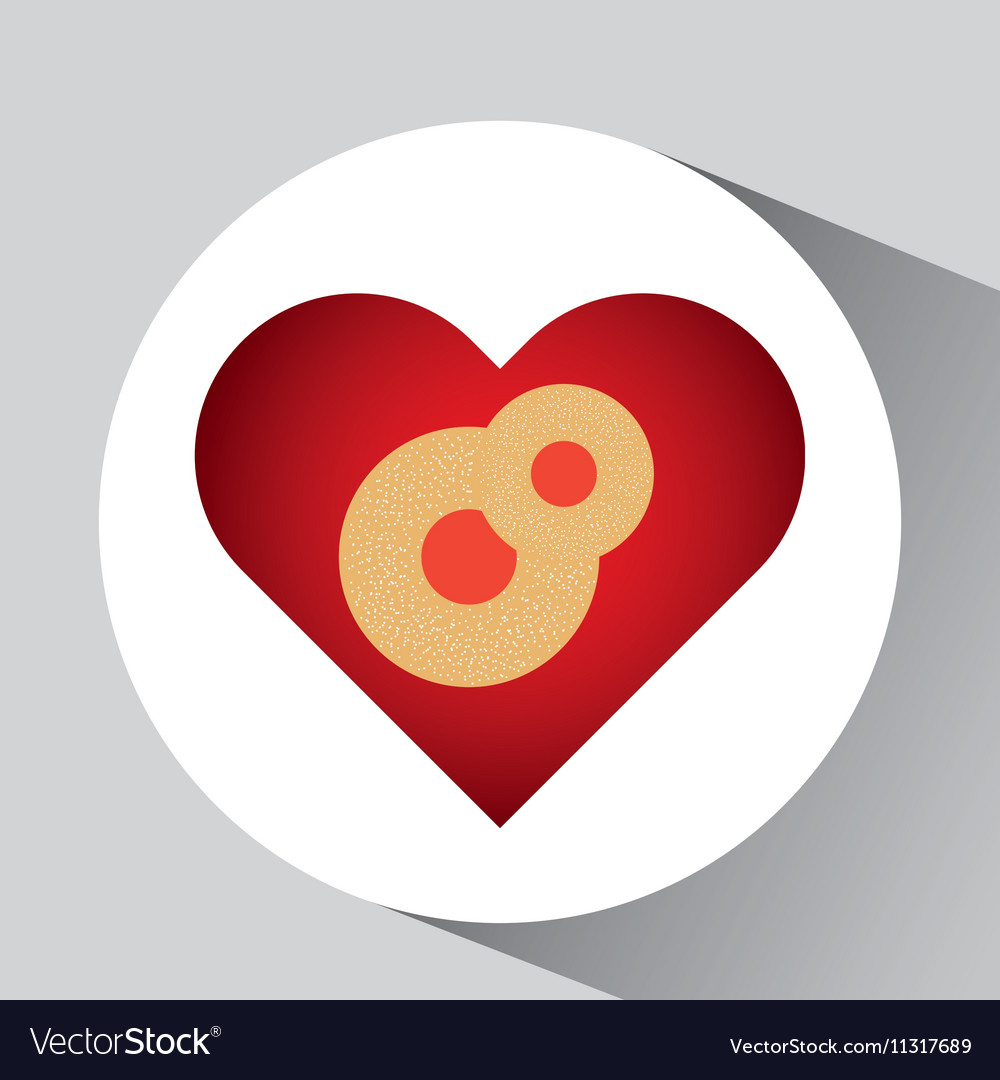 Cartoon cookie with cream cherry and hearts icon vector image