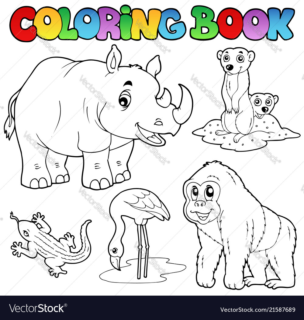 Coloring book zoo animals set 1 Royalty Free Vector Image