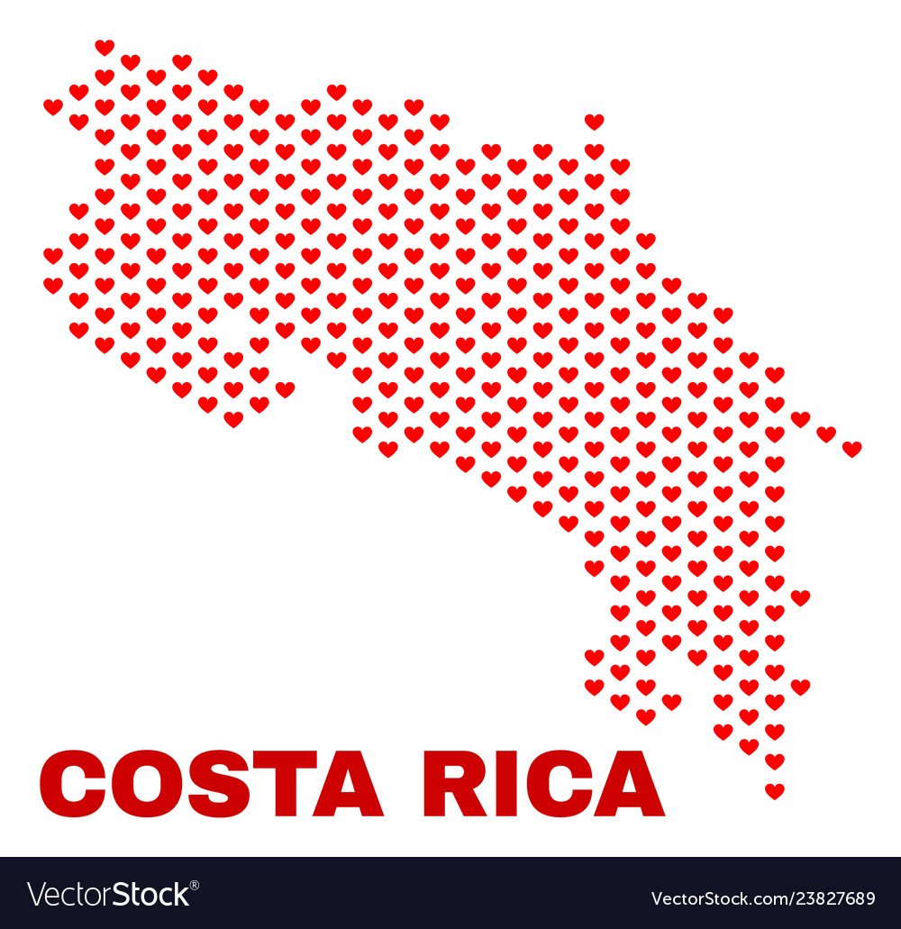 Costa rica map - mosaic of valentine hearts