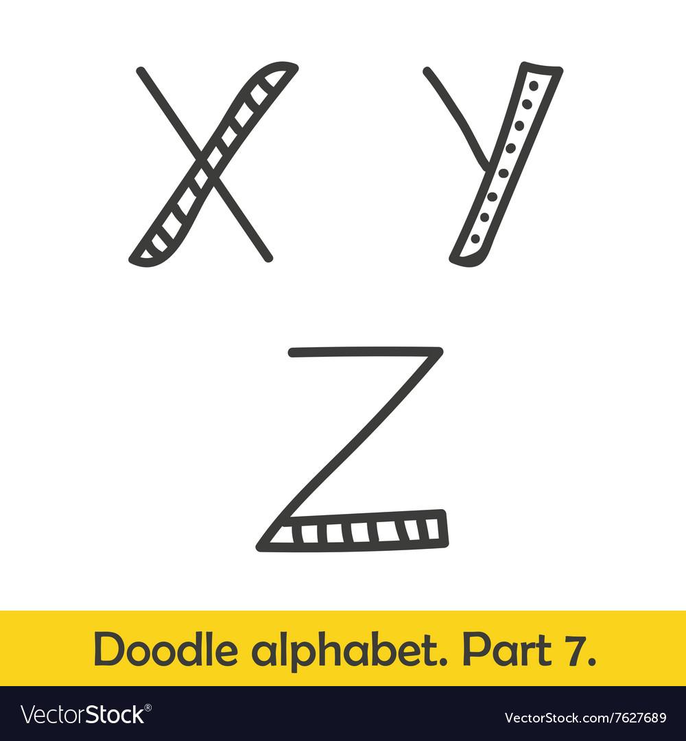 Cute hand drawn alphabet doodle letters X-Z