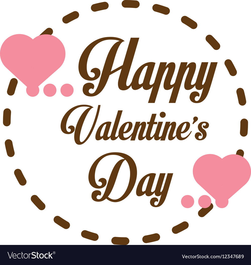Happy valentines day card greeting heart label