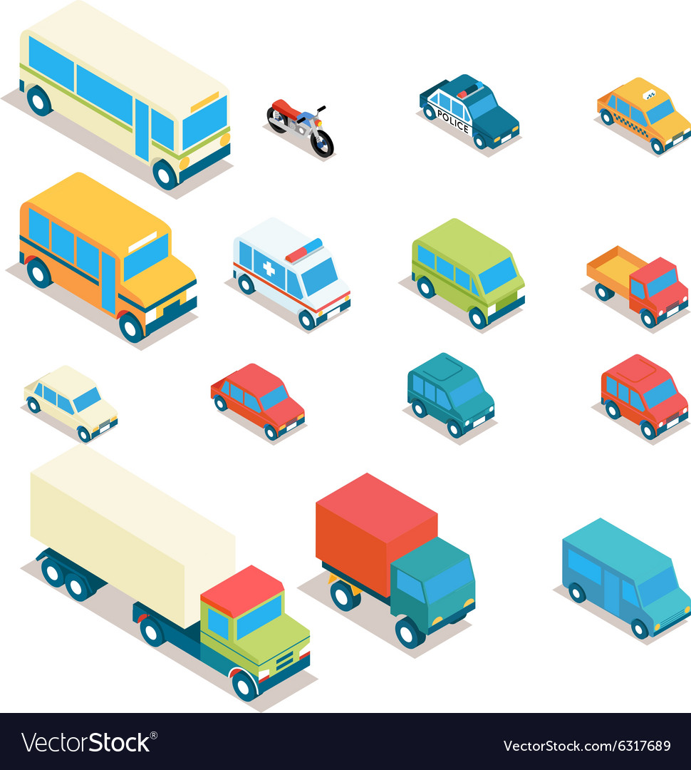 Isometric city transport and trucks icons