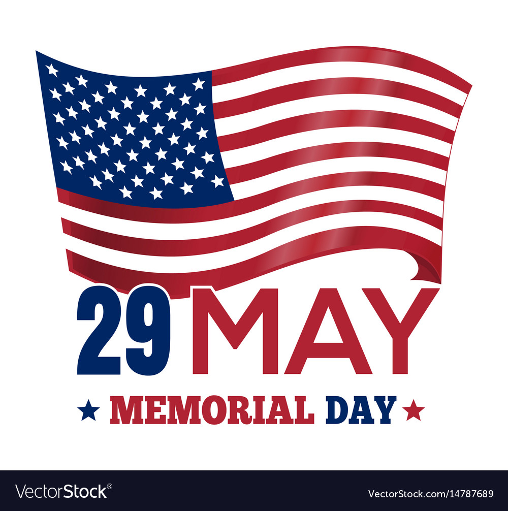 Memorial day 2017 poster design with the us flag vector image
