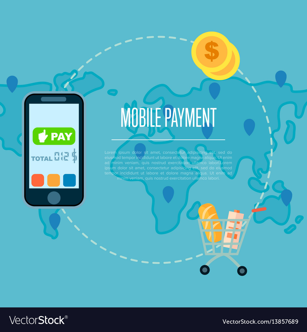 Mobile payment concept in flat design