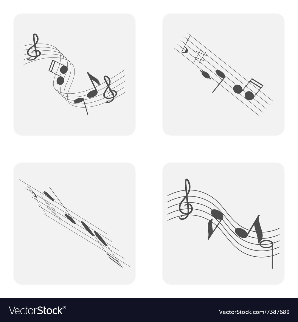 Monochrome icon set with treble clef and notes