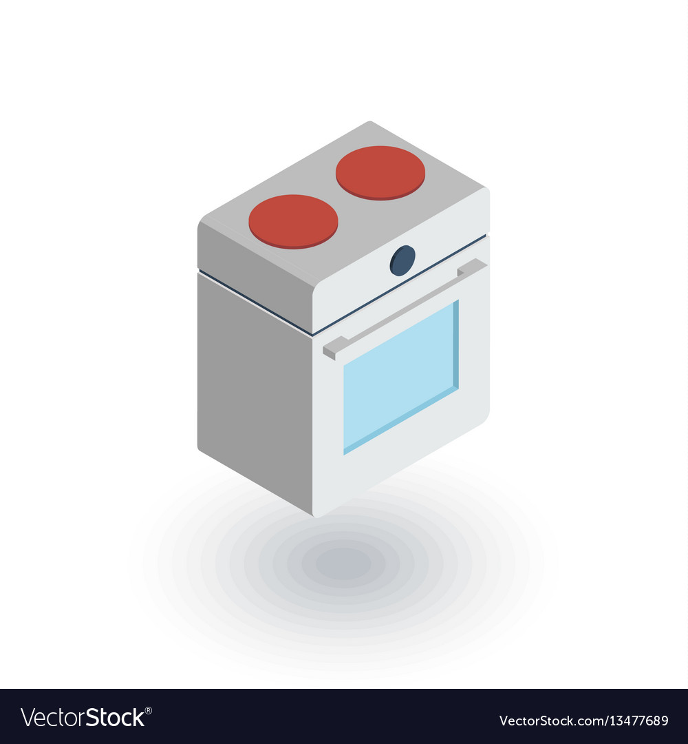 Oven stove isometric flat icon 3d vector image