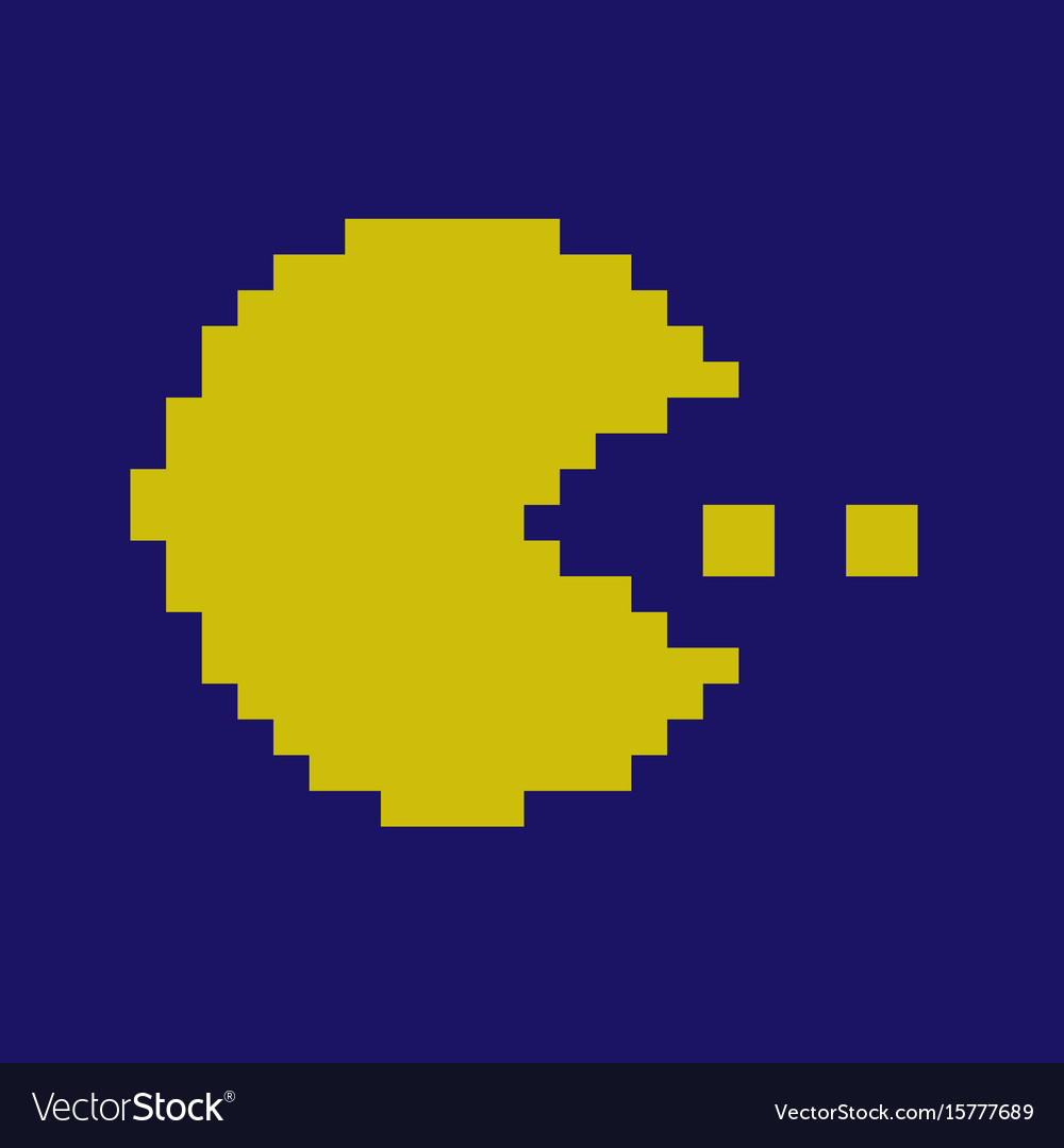 Pixel smile icons pac man character
