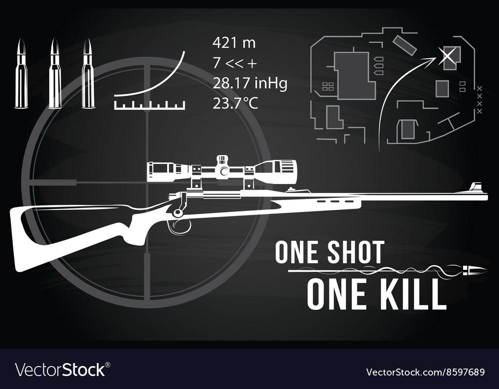 Set of firearms sniper rifles tactical map