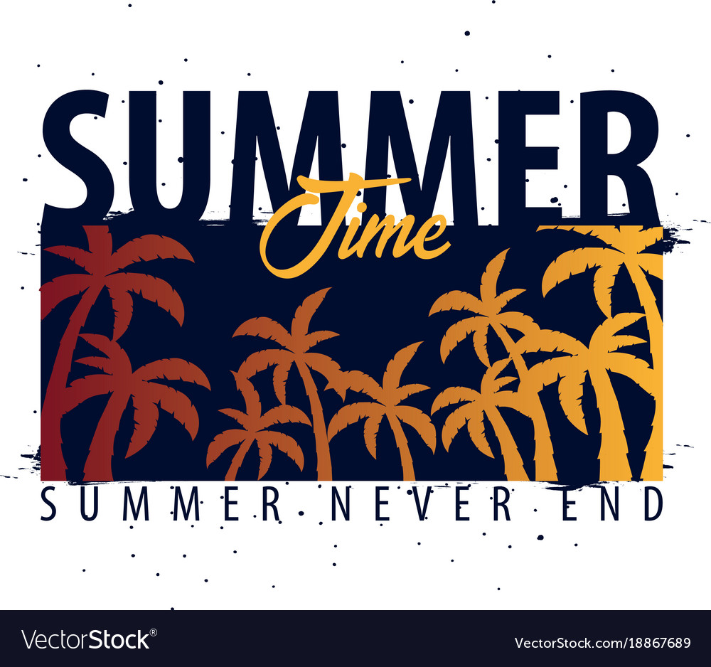 050e677d Summer time graphic with palms t-shirt design and Vector Image