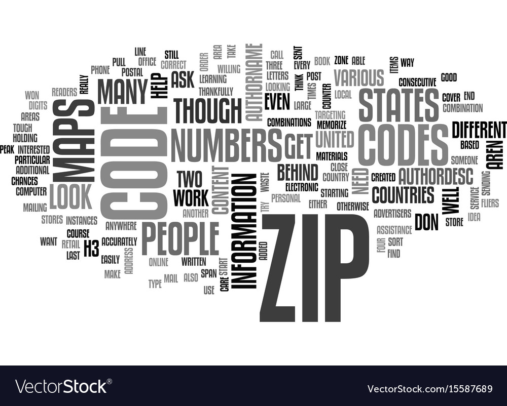 Zip code maps text word cloud concept