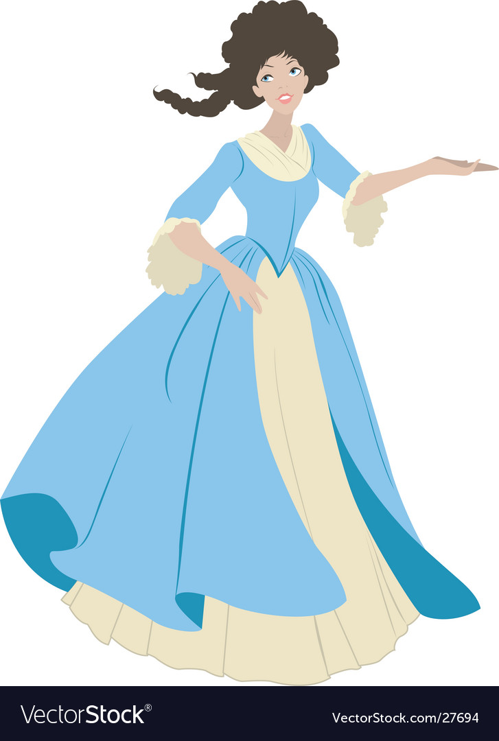 18th century costume lady vector image
