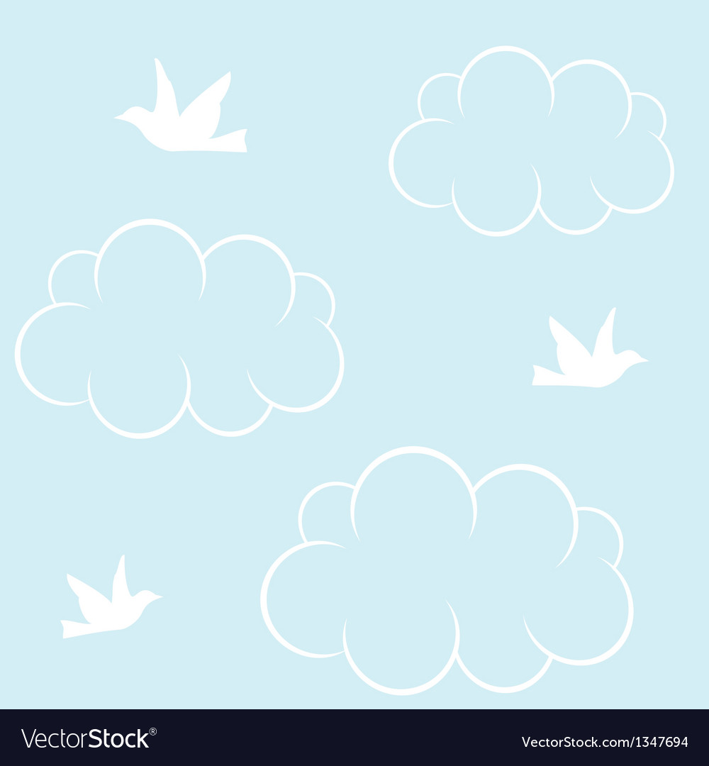 Birds cloud and blue sky