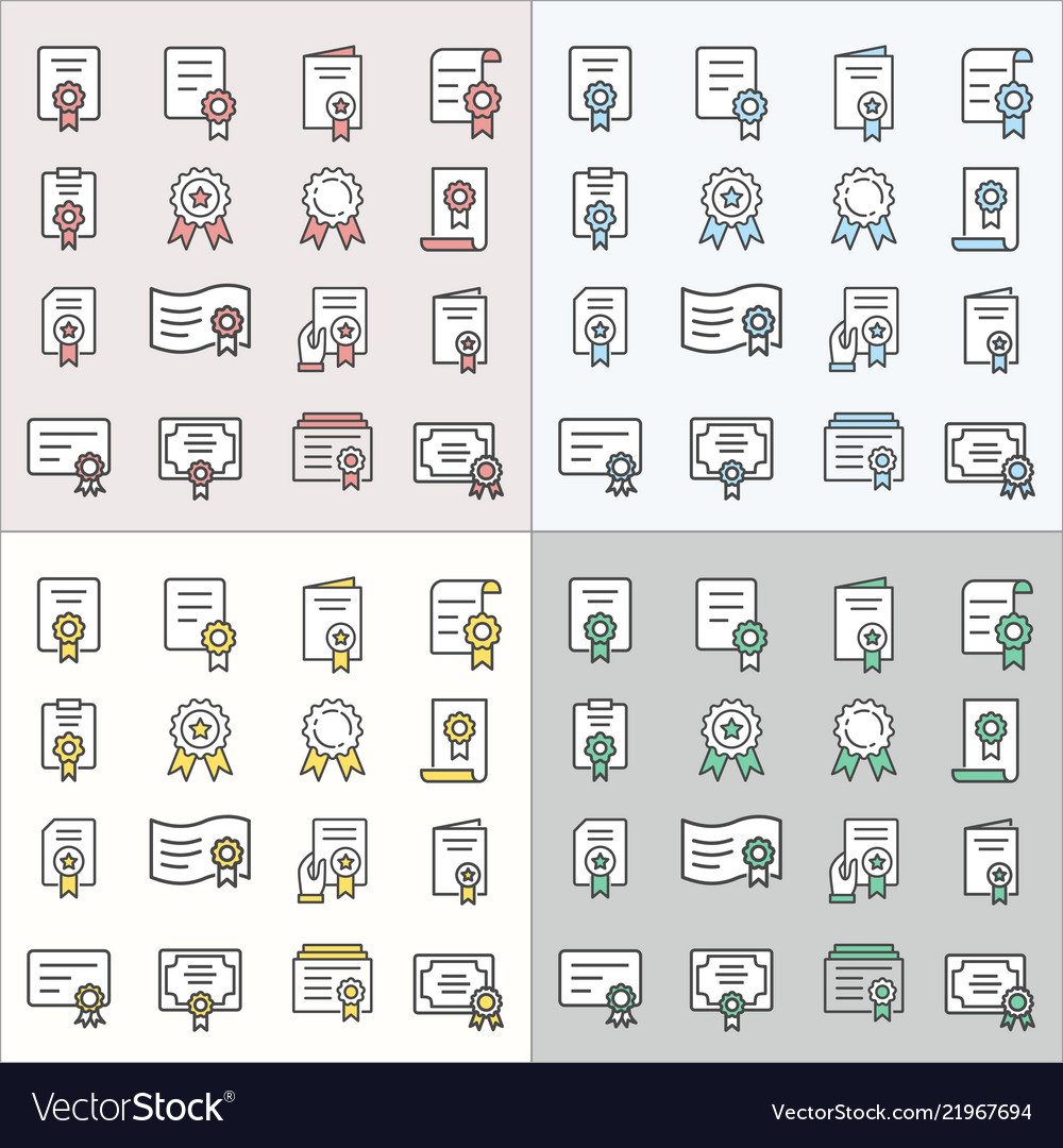 Certificate flat line icons for graphic and web