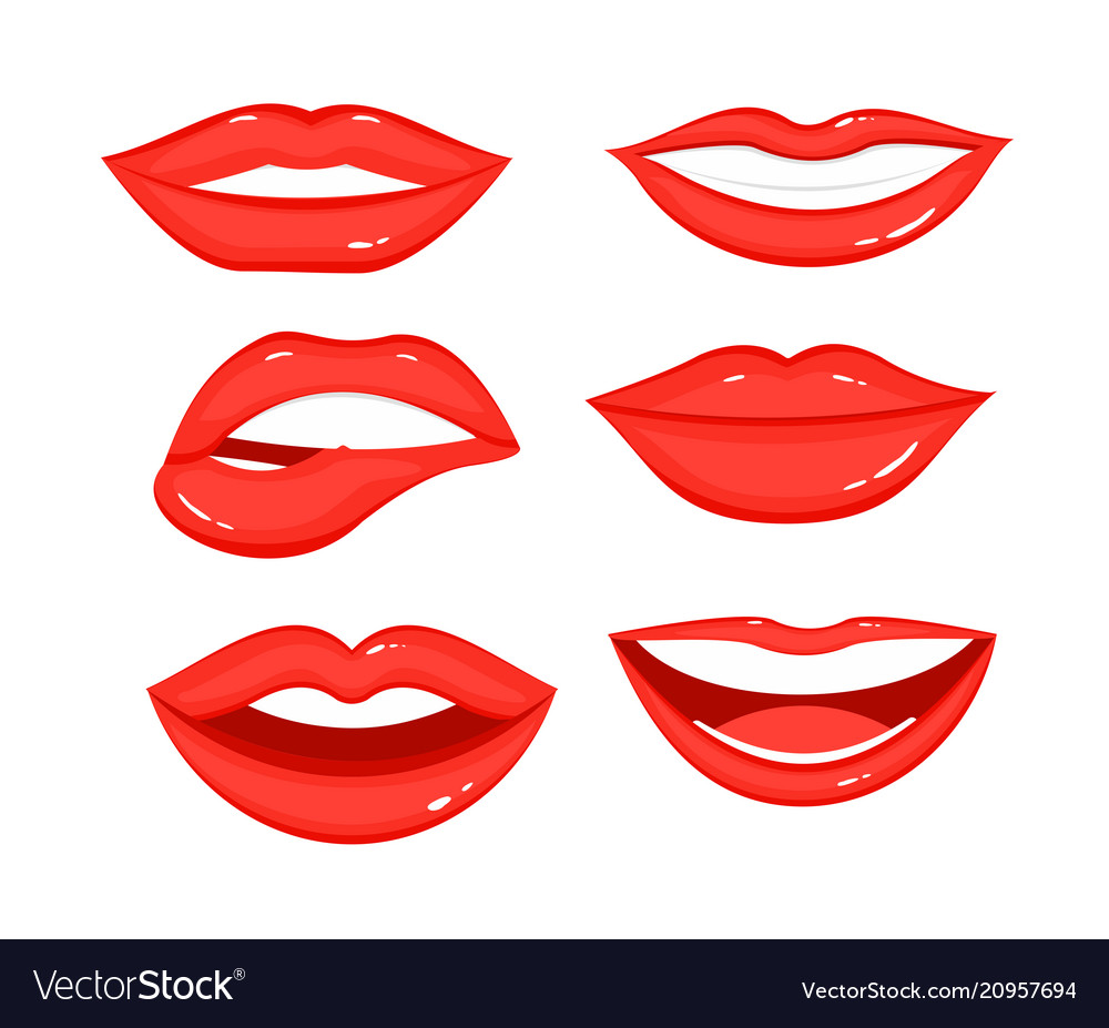 Collection of red lips with