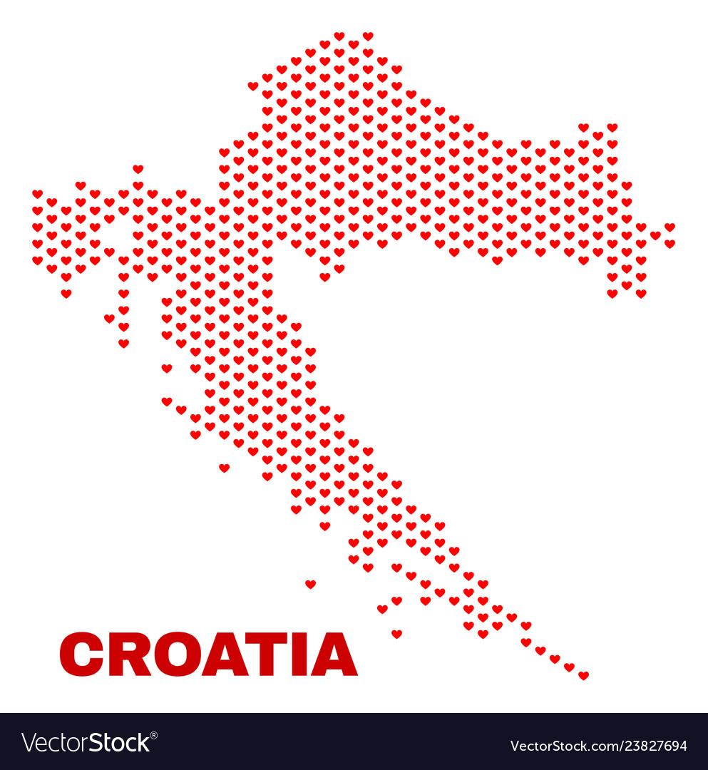 Croatia map - mosaic of lovely hearts