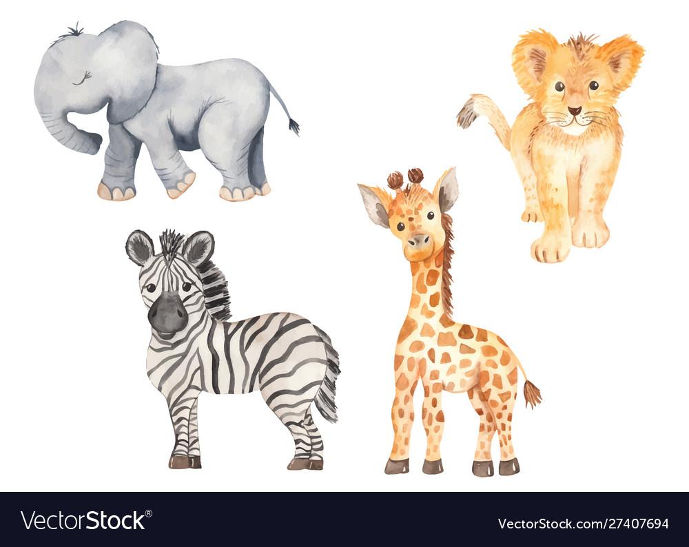 Cute cartoon african animals elephant zebra