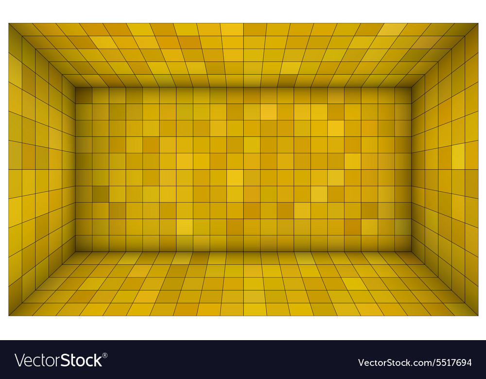 Empty futuristic room with yellow mosaic walls