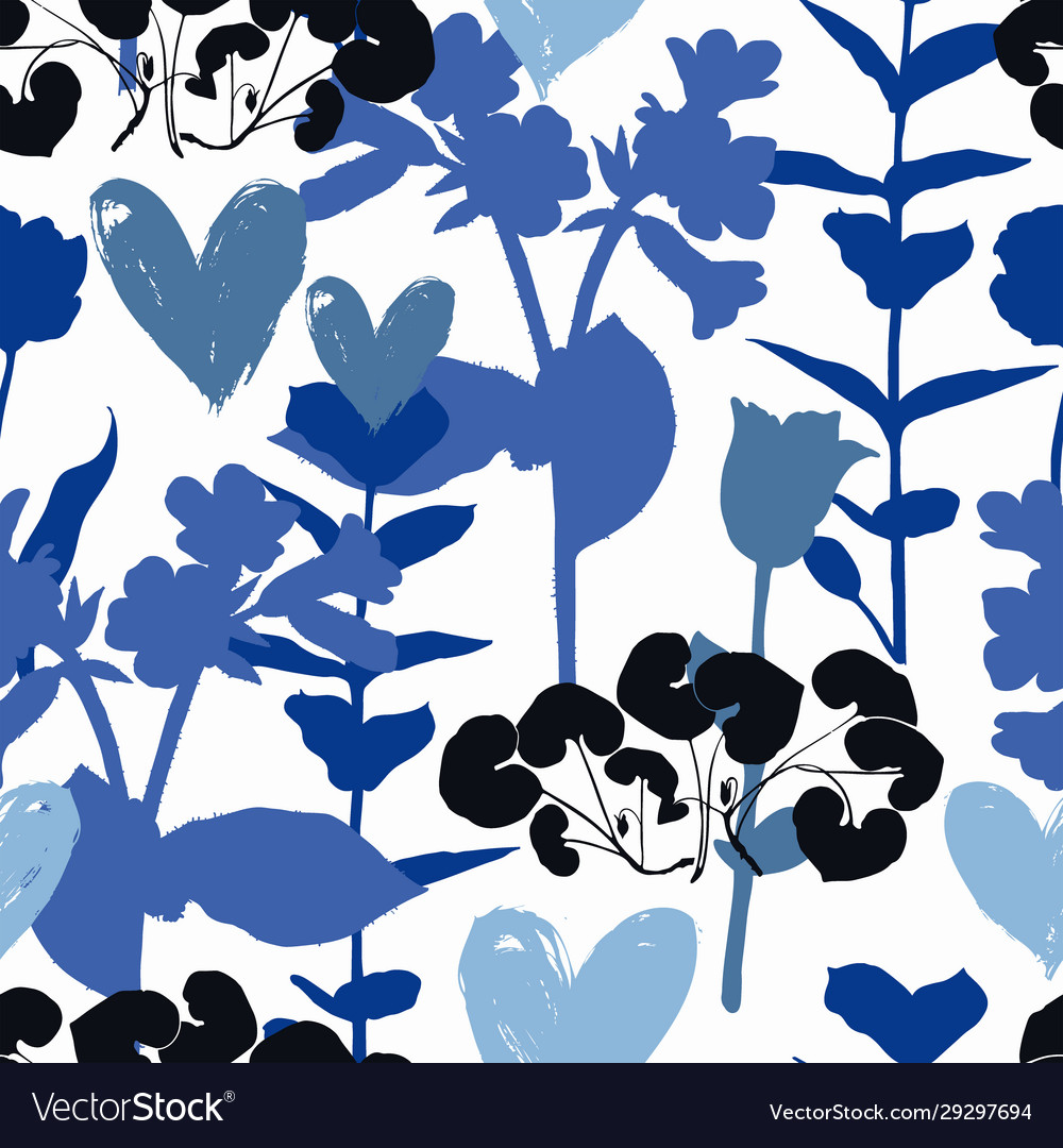 Floral pattern with hearts and shapes plants