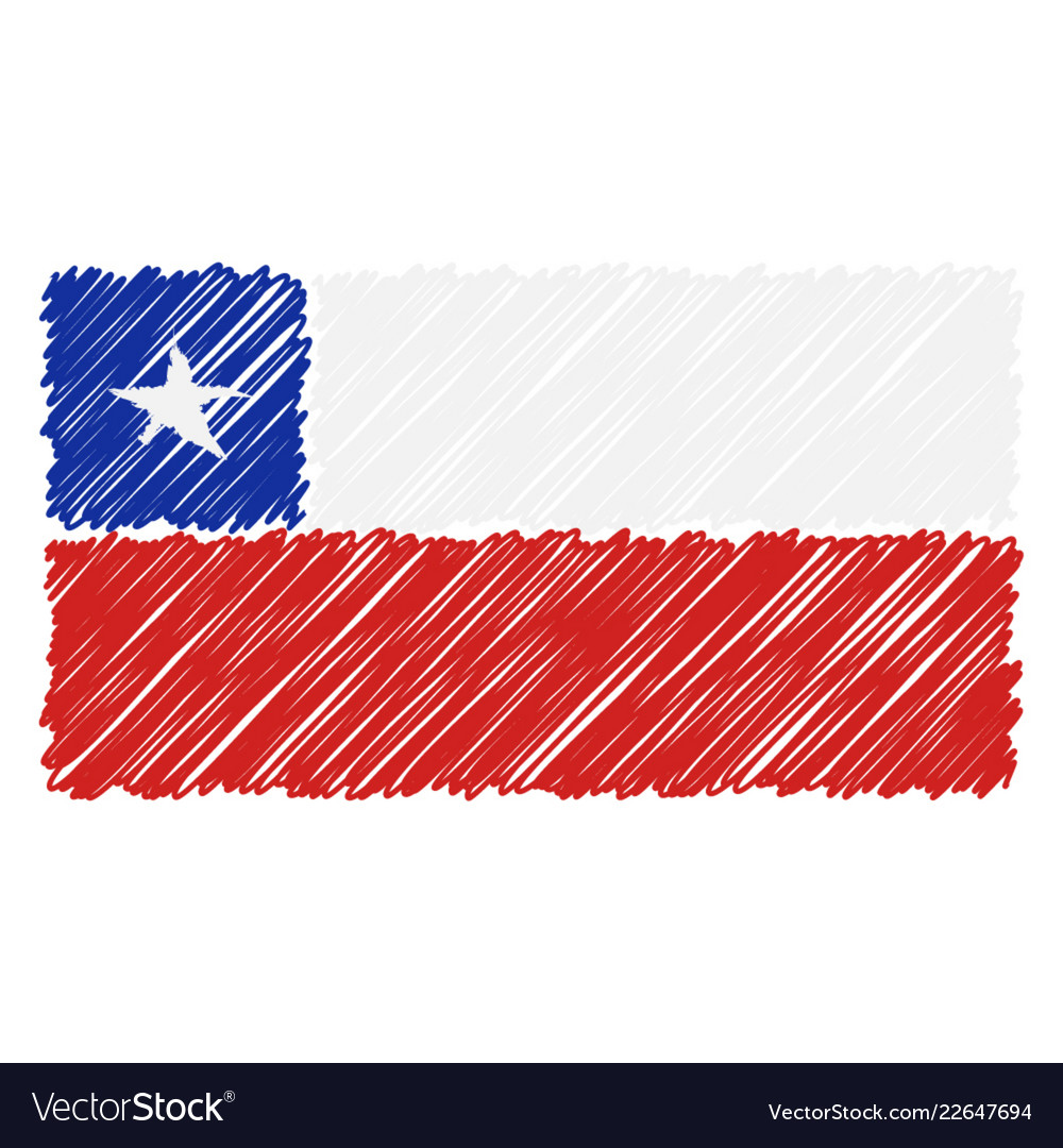 Hand drawn national flag of chile isolated on a