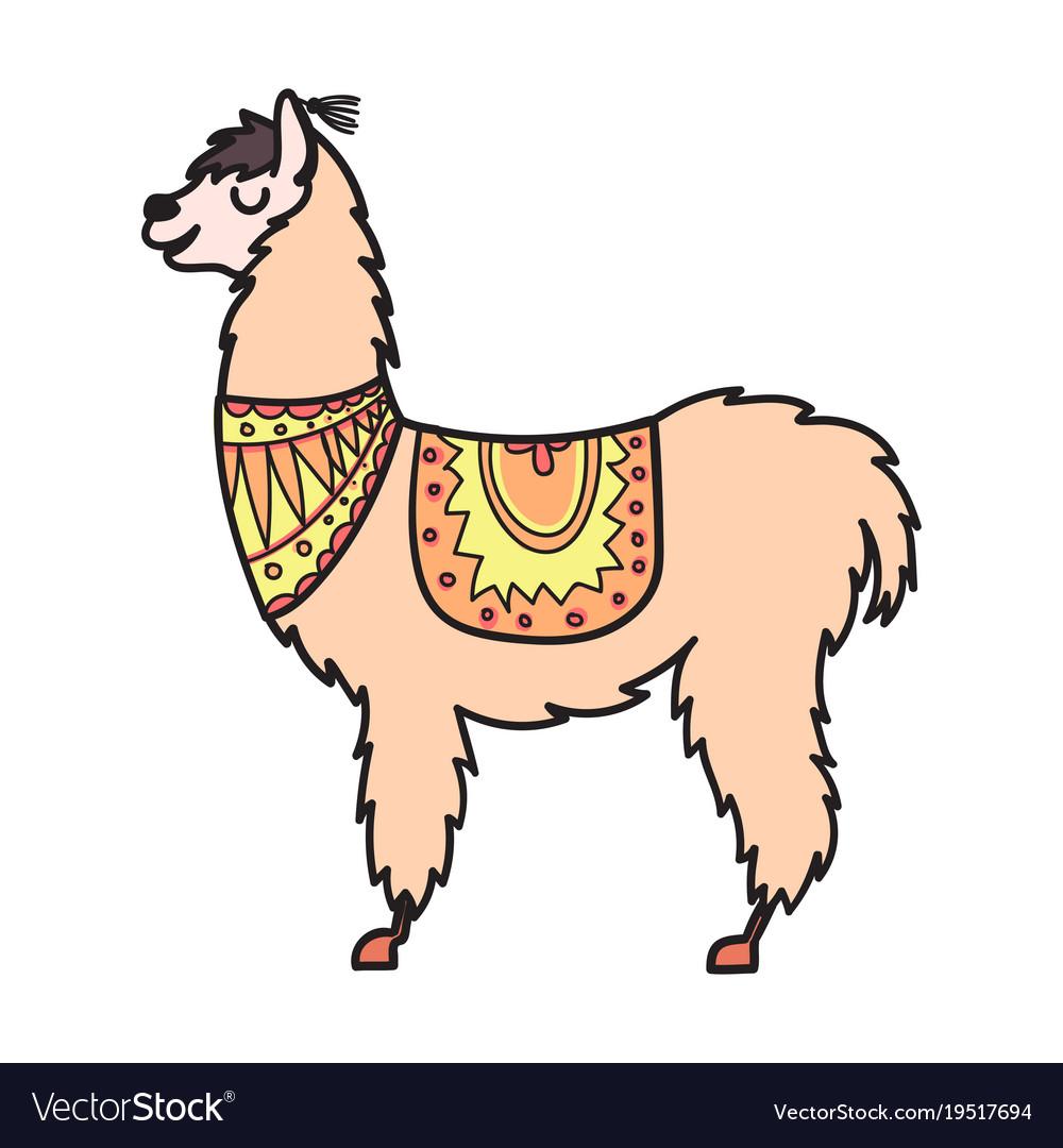 isolated outline cartoon baby llama royalty free vector
