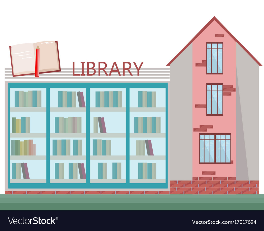 Library front facade building flat style
