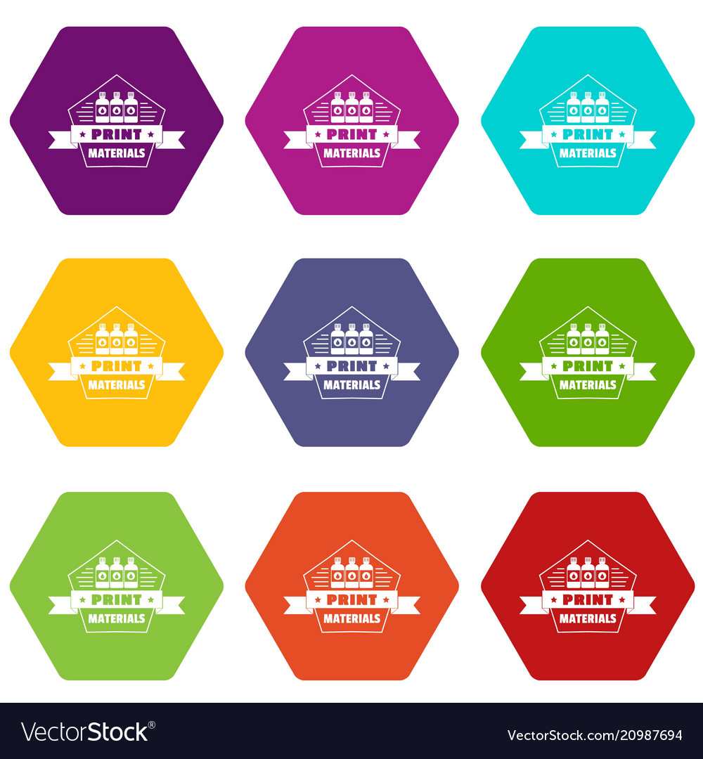 Print materials icons set 9 vector image