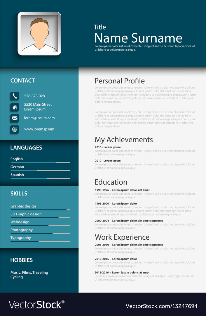 Professional Blue Resume Cv Template Royalty Free Vector
