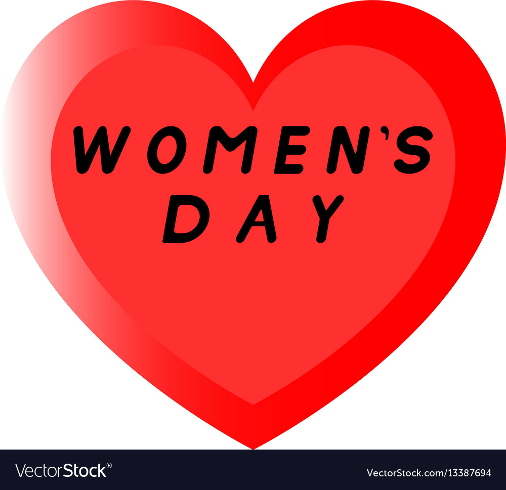 Red heart for womens day with two path and a vector image