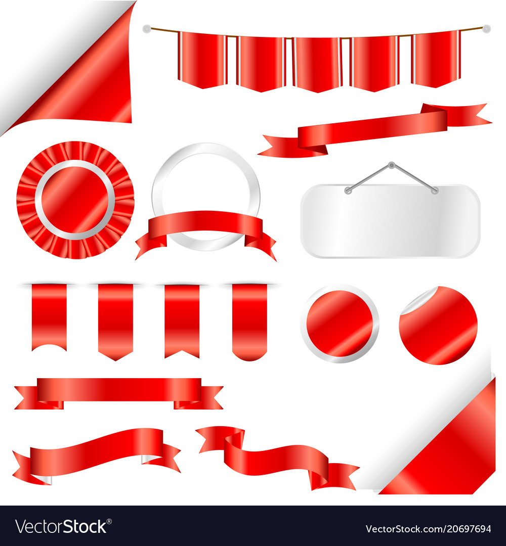Red ribbons flag and labels set isolated on white