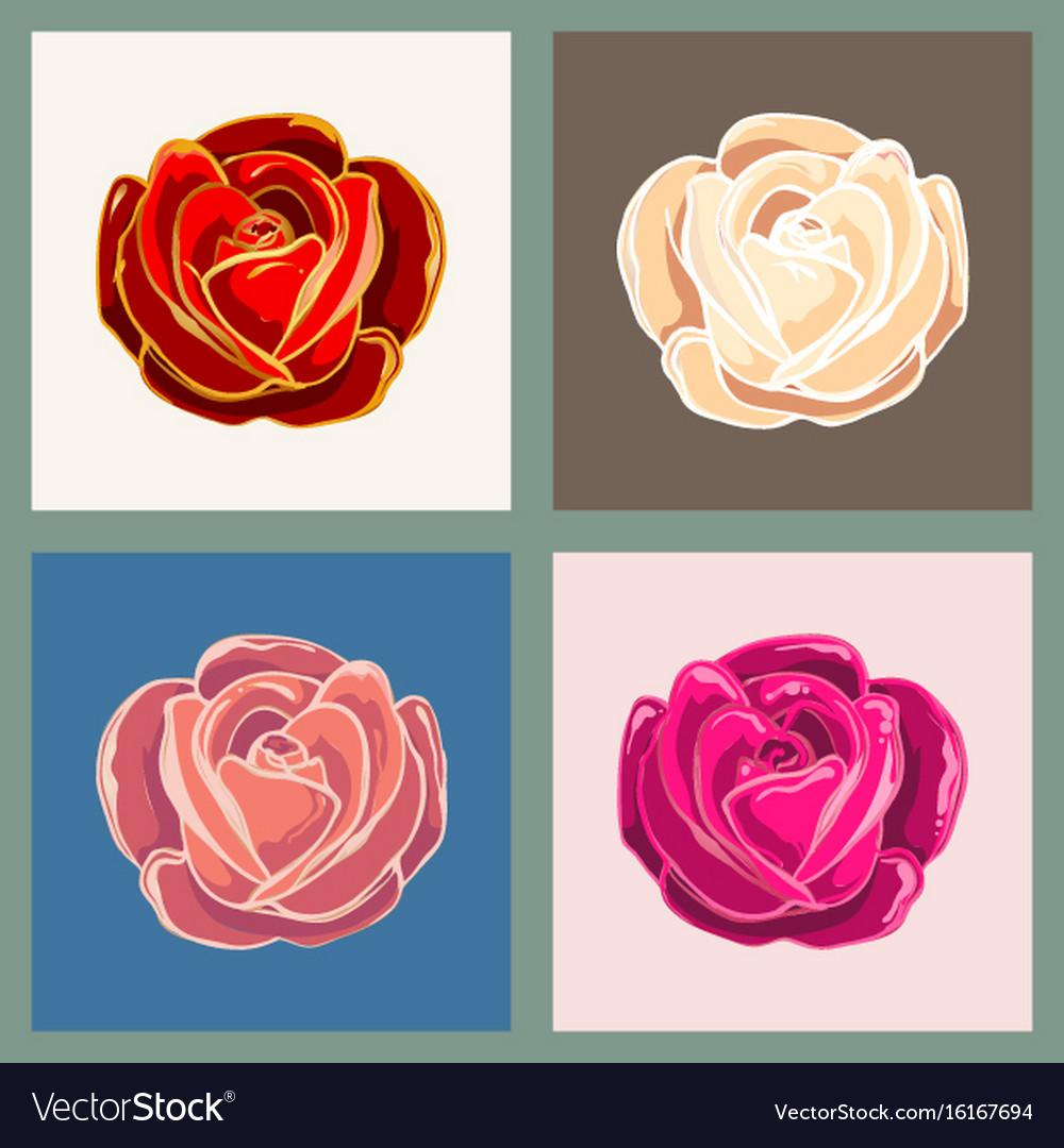 Rose flower emblem set vector image