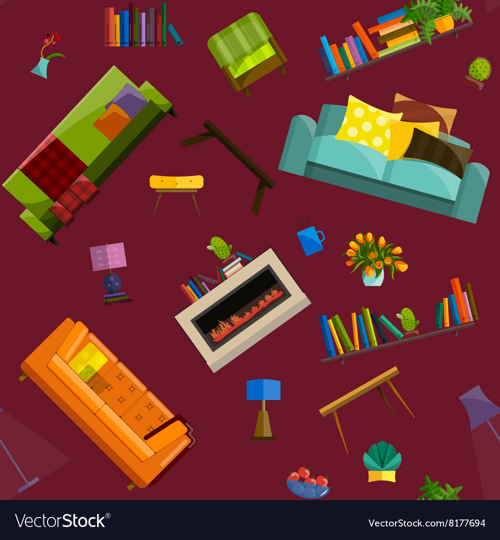 Sale products in a furniture store seamless vector image