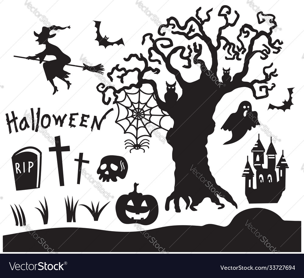 Set halloween black silhouette symbols vector