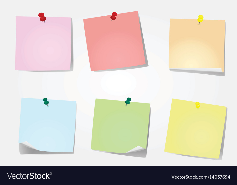Six notes pinned vector image