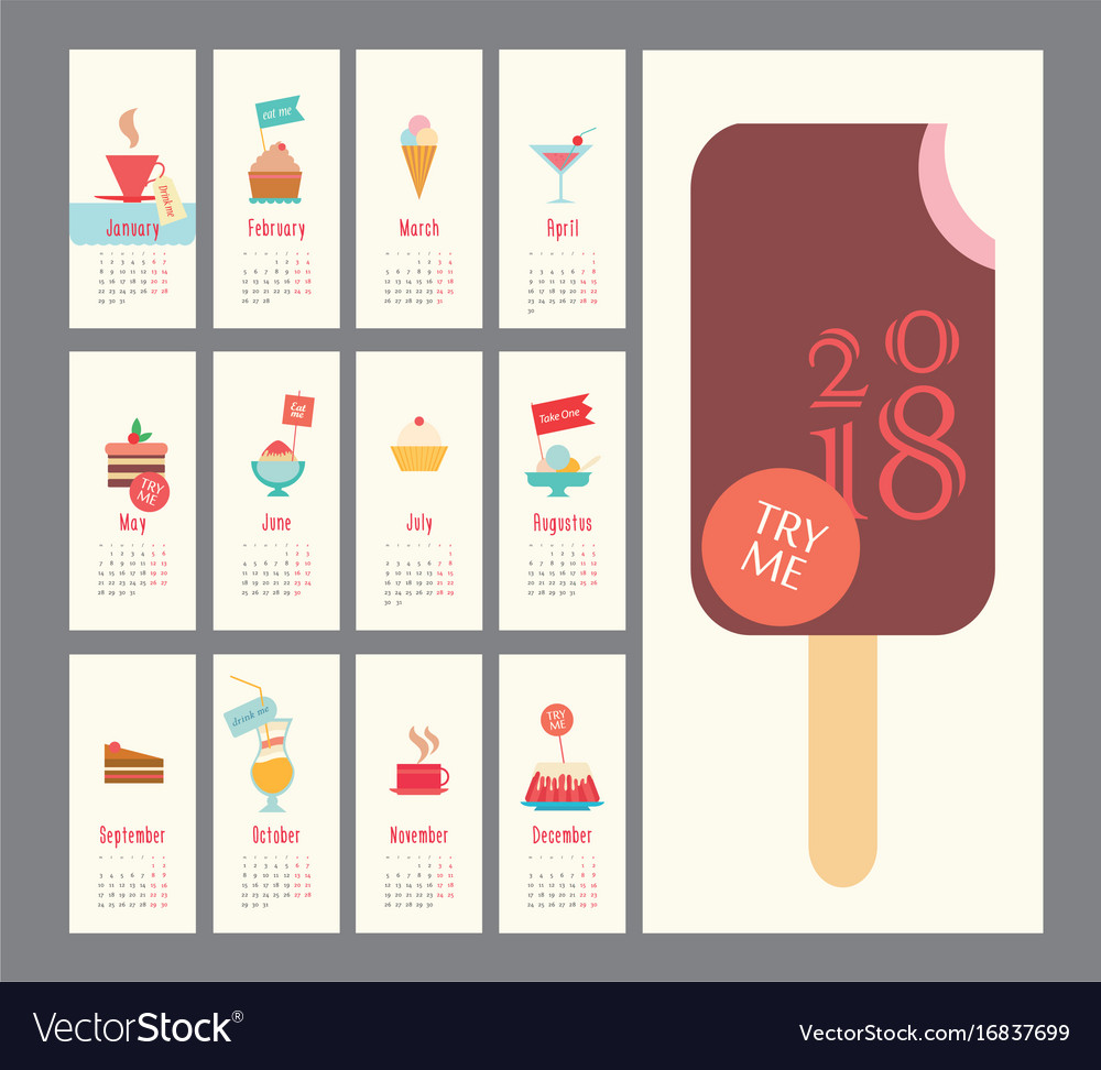 Calendar 2018 ice cream set flat design dessert