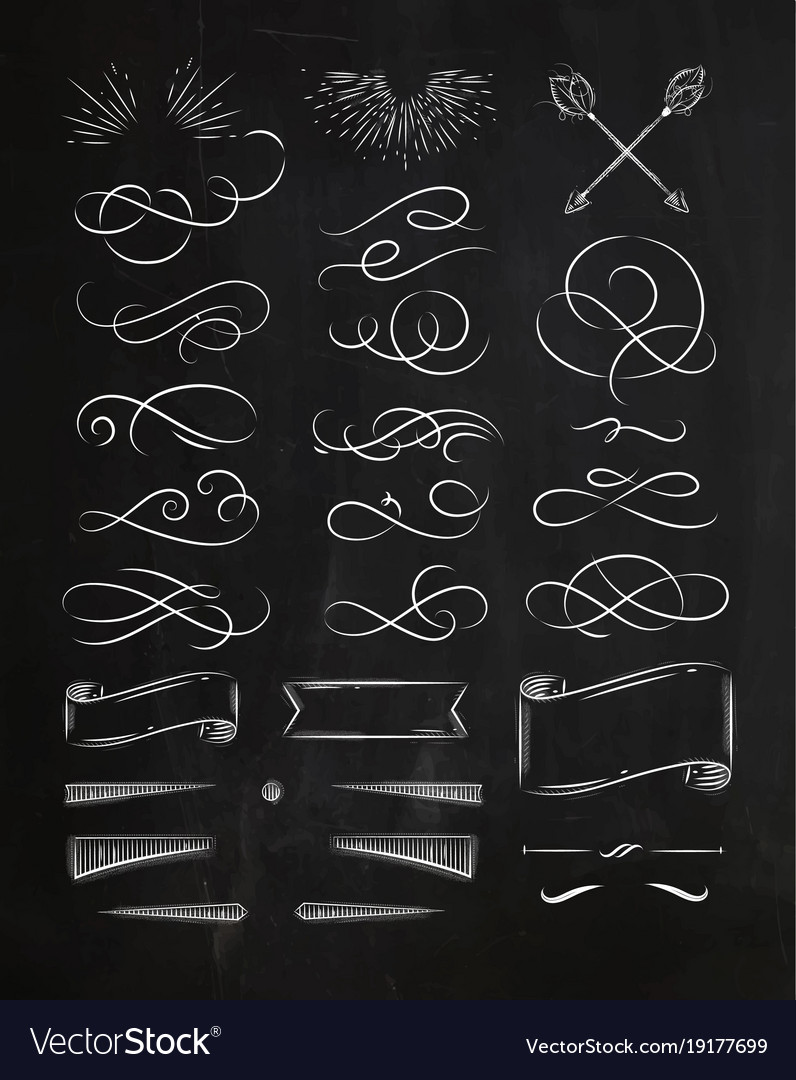 Calligraphic vintage graphic elements chalk