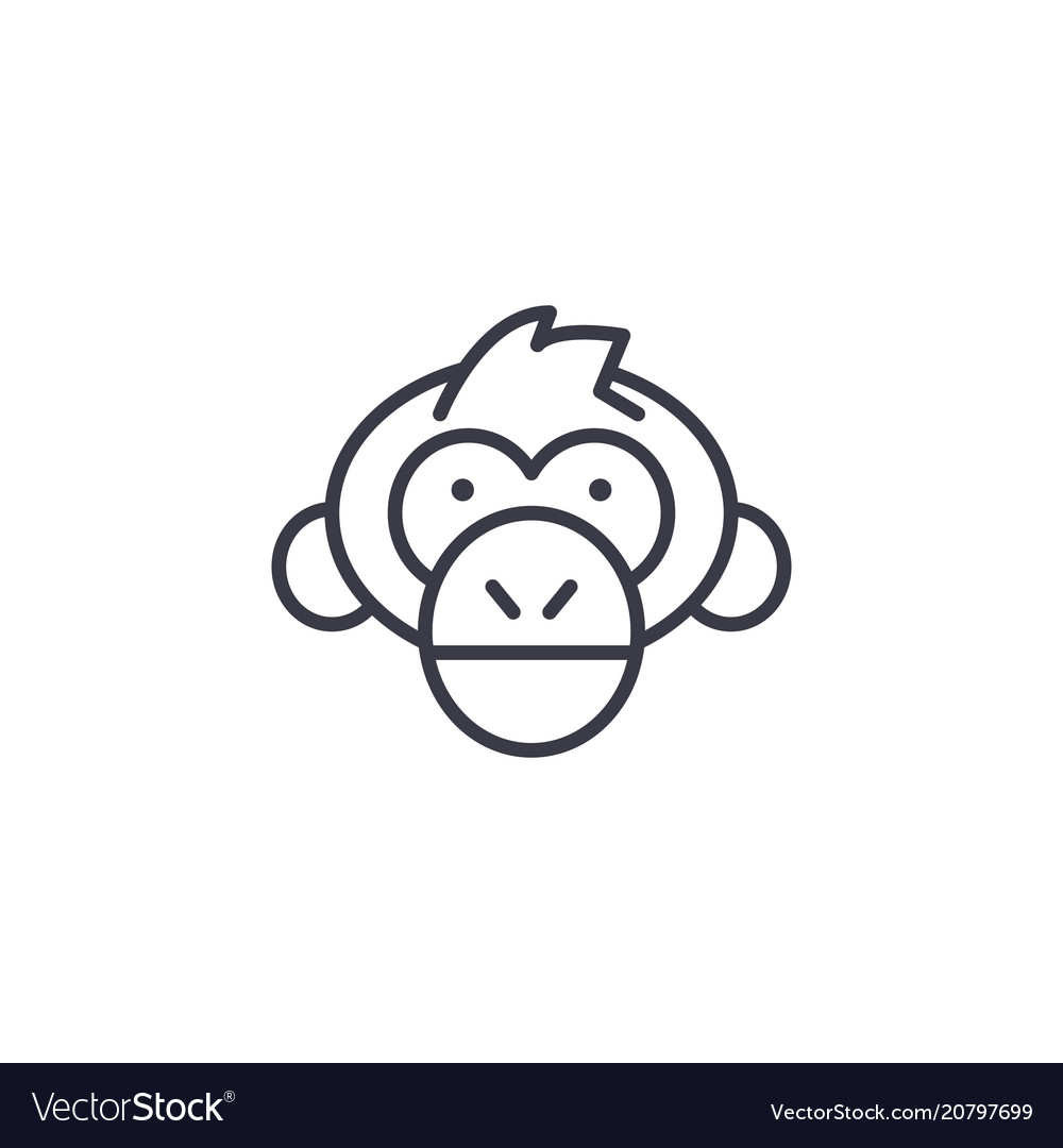 Chimpanzee head line icon sign