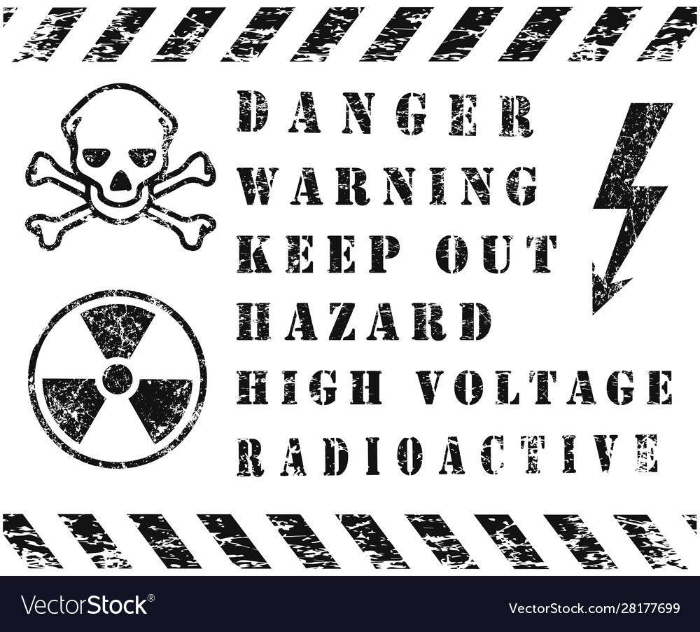 Danger safety warning icon set grunge black