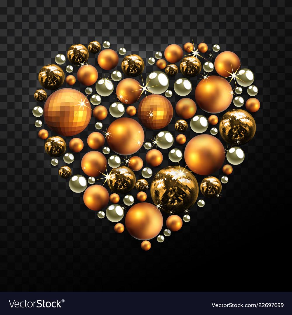 Christmas Heart Vector.Decorative Christmas Heart Made Of Golden Balls